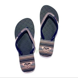 Roxy Navy Blue Flip Flops Size 8 New Without Tags